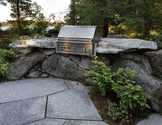 Stone Bbq Granite Boulders Outdoor Kitchen Pellettieri Ociates Warner Nh