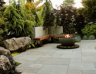 Boulder Seating, Limestone Patio, Firebowl, Cedar Bench Patio Green  Elevations North Vancouver,