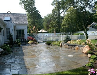 Patio Wall Design stone patio wall luxury backyard patio patio yard boss landscape design llc mattapoisett ma Cleft Bluestone Patio Patio Captains Landscape Design And Build Duxbury