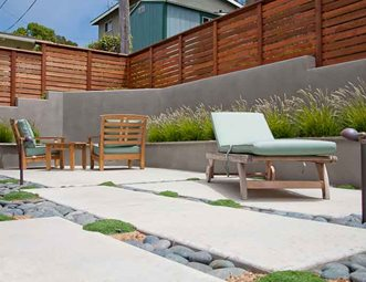 Marvelous Modern Patio Design, Gray Retaining Wall, Privacy Fence Patio Ecotones  Landscapes Cambria, CA