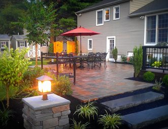 patio bluestone steps pier light patio design build landscape massapequa - Design Backyard Patio