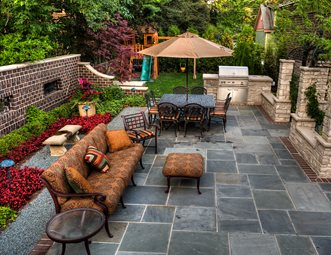 Beautiful Slate Patio, Small Patio Patio Landscaping Network Calimesa, CA