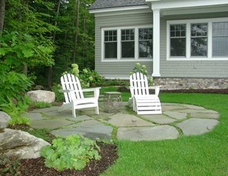 small circular stone patio patio belknap landscape co inc gilford nh - Stone Patio Designs