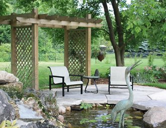 Designs For Backyard Patios designed outdoor living Small Lattice Pergola Pond Patio Patio Lads Landview Architectural Design Sequences Burlington On