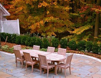 square stone patio teak dining table patio liquidscapes pittstown nj - Stone Patio Designs