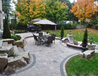 Backyard Paver Patio, Backyard Boulders Paver Patio OGS Landscape Services  Whitby, ON