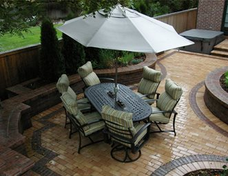Entertaining, Patio, Clay Paver, Small Paver Patio Arcadia Design Group  Centennial, CO