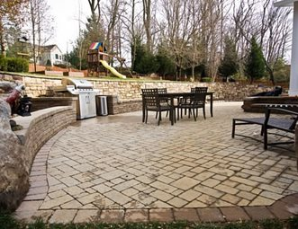 Lovely Paver Patio, Tan Pavers, Herringbone Paver Patio StoneScapes Design  Hanover, MD