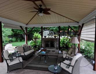 Covered Patio, Small Gas Fireplace Pergola And Patio Cover Renaissance  Landscape Group Inc Puslinch,