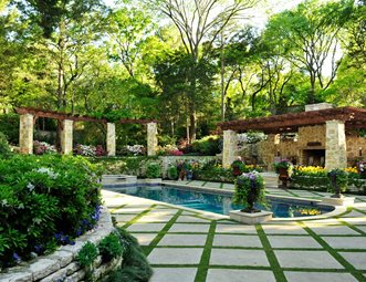Pool Deck Grass Diamond Pattern, Stone Pergola Columns Pergola And Patio  Cover Harold Leidner Landscape