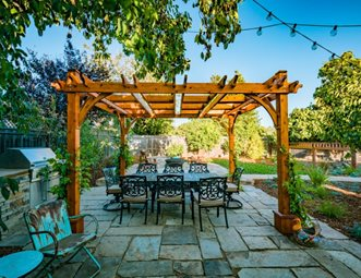 Wood Pergola Outdoor Dining And Patio Cover Greener Environments Los Osos Ca