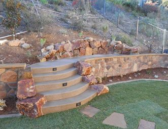 Backyard Rock Retaining Wall Retaining And Landscape Wall Quality Living  Landscape San Marcos, CA