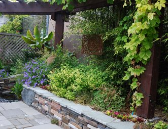 Small Stone Retaining Wall, Climbing Vines Retaining And Landscape Wall  N.W. Bloom Mill Creek,