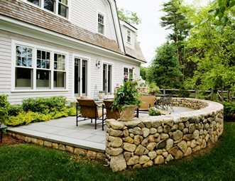 stone patio wall luxury backyard patio retaining and landscape wall yard boss landscape design llc - Landscape Wall Design