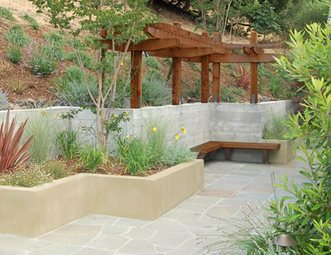 zig zag retaining walls planter concrete stucco pergola retaining and landscape