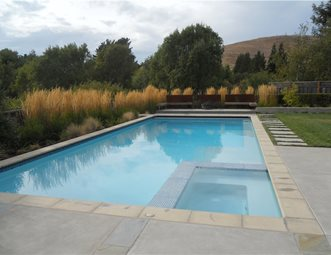 Simple Pool Designs the pool design featured here a recent project of ours is a prime example of how the right finishing touches can turn a simple pool and spa into a Pool And Spa Design Huettl Landscape Architecture Walnut Creek Ca