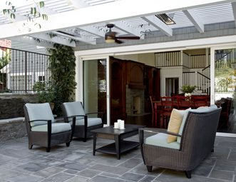 Bluestone Patio Seating Area, White Cape Cod Patio Cover Southern California  Landscaping Stout Design Build