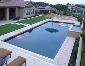 custom backyard pool inset spa swimming pool landscaping network calimesa ca - Rectangle Pool With Spa