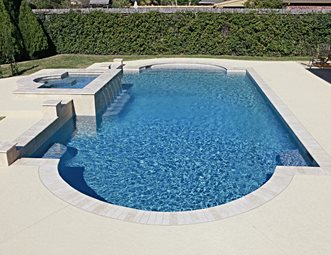 roman pool shape swimming pool landscaping network calimesa ca - Roman Swimming Pool Designs
