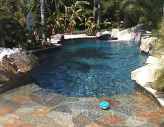 Pool Deck With Waterfeature Tropical Landscaping Network Calimesa CA