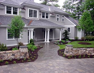 Front Flagstone Walkway Entrance Walls And Path Belknap Landscape Co Inc