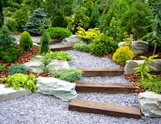railroad tie walkway evergreen garden walkway and path landscaping network calimesa ca - Garden Design Triangular Plot