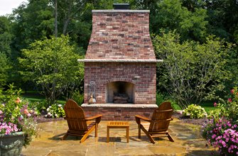 Large Brick Backyard Fireplace Backyard Landscaping Small's Landscaping Inc Valparaiso, IN