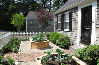 Brick Path Serves As Line Of Symmetry. Nilsen Landscape Design Boston, MA