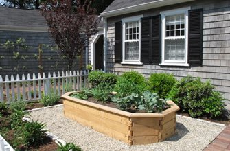 Cedar Raised Bed. Nilsen Landscape Design Boston, MA