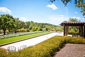 Bocce Court, Mediterranean Plants Backyard Landscaping Ecotones Landscapes Cambria, CA