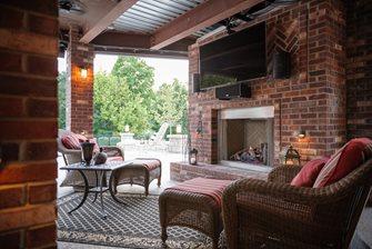 Brick Patio Fireplace