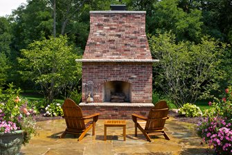 Outdoor Brick Fireplace - Landscaping Network