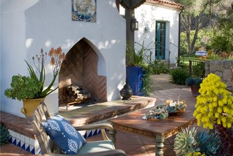 White Outdoor Fireplace