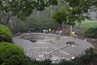 concrete deck, pouring, aggregate