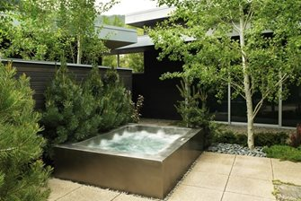 raised stainless steel spa