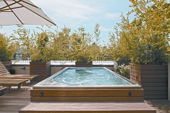 stainless steel spa on a rooftop