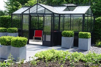 lightweight glass and metal greenhouse