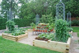 Raised Beds, Edibles, French Trellis