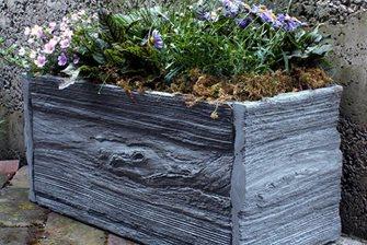 reclaimed wood concrete planter
