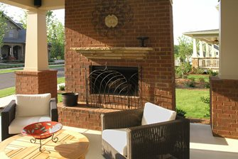 Red Brick Outdoor Fireplace