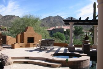 Southwest Stucco Outdoor Fireplace