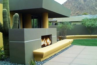 Modern Stucco Outdoor Fireplace