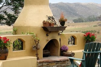 stucco outdoor fireplace