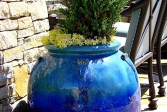 blue outdoor pottery