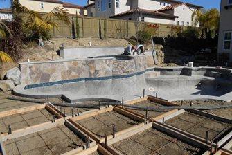 Backyard Slope Pool Retaining Walls