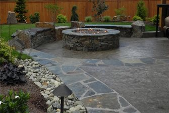 concrete with flagstone borders