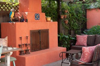 Colorful Stucco Patio Fireplace