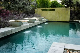 trio of angular fountains
