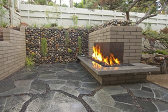 Beige Brick Fireplace