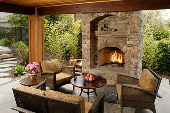 Backyard Fireplace Outdoor Fireplace Big Sky Landscaping Inc. Portland, OR